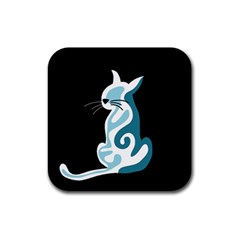 Blue Abstract Cat Rubber Square Coaster (4 Pack)  by Valentinaart