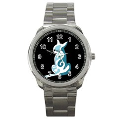 Blue Abstract Cat Sport Metal Watch by Valentinaart
