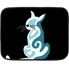 Blue Abstract Cat Double Sided Fleece Blanket (mini)
