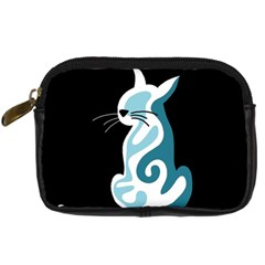 Blue Abstract Cat Digital Camera Cases by Valentinaart