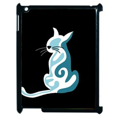 Blue Abstract Cat Apple Ipad 2 Case (black) by Valentinaart