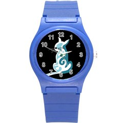 Blue Abstract Cat Round Plastic Sport Watch (s) by Valentinaart
