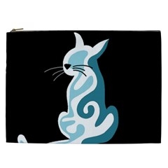 Blue Abstract Cat Cosmetic Bag (xxl)  by Valentinaart