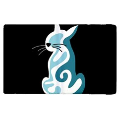 Blue Abstract Cat Apple Ipad 2 Flip Case by Valentinaart