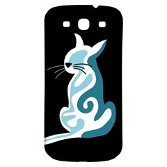 Blue Abstract Cat Samsung Galaxy S3 S Iii Classic Hardshell Back Case by Valentinaart