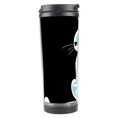 Blue Abstract Cat Travel Tumbler by Valentinaart