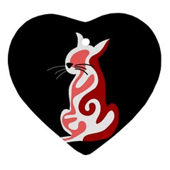 Red Abstract Cat Ornament (heart)  by Valentinaart