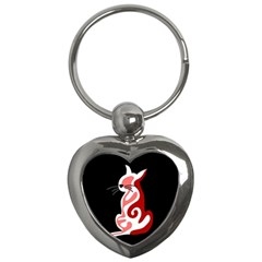 Red Abstract Cat Key Chains (heart)  by Valentinaart
