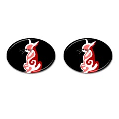 Red Abstract Cat Cufflinks (oval)