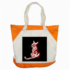 Red Abstract Cat Accent Tote Bag by Valentinaart