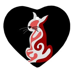 Red Abstract Cat Heart Ornament (2 Sides) by Valentinaart