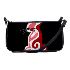 Red Abstract Cat Shoulder Clutch Bags by Valentinaart