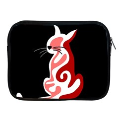 Red Abstract Cat Apple Ipad 2/3/4 Zipper Cases by Valentinaart