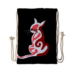 Red Abstract Cat Drawstring Bag (small) by Valentinaart