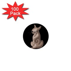 Brown Abstract Cat 1  Mini Buttons (100 Pack)  by Valentinaart