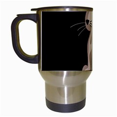 Brown Abstract Cat Travel Mugs (white) by Valentinaart