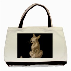 Brown Abstract Cat Basic Tote Bag by Valentinaart