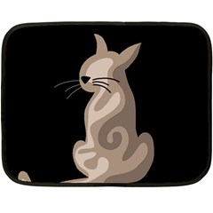 Brown Abstract Cat Fleece Blanket (mini) by Valentinaart