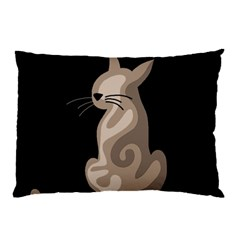 Brown Abstract Cat Pillow Case (two Sides) by Valentinaart