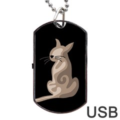 Brown Abstract Cat Dog Tag Usb Flash (one Side) by Valentinaart