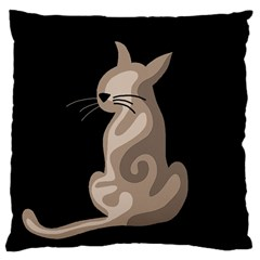 Brown Abstract Cat Large Cushion Case (one Side) by Valentinaart