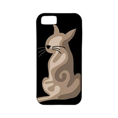 Brown Abstract Cat Apple Iphone 5 Classic Hardshell Case (pc+silicone) by Valentinaart