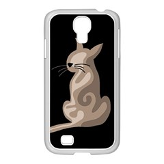 Brown Abstract Cat Samsung Galaxy S4 I9500/ I9505 Case (white) by Valentinaart