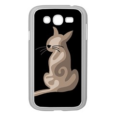 Brown Abstract Cat Samsung Galaxy Grand Duos I9082 Case (white) by Valentinaart