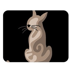 Brown Abstract Cat Double Sided Flano Blanket (large)