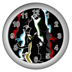 Street Cats Wall Clocks (silver)  by Valentinaart