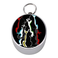 Street Cats Mini Silver Compasses by Valentinaart