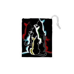 Street Cats Drawstring Pouches (xs)  by Valentinaart