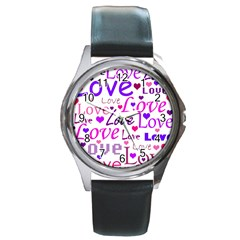 Love Pattern Round Metal Watch by Valentinaart