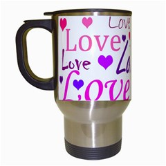 Love Pattern Travel Mugs (white) by Valentinaart