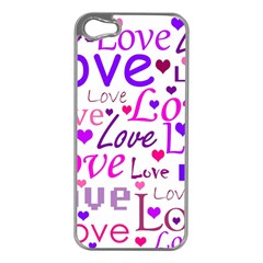 Love Pattern Apple Iphone 5 Case (silver) by Valentinaart