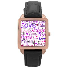 Love Pattern Rose Gold Leather Watch  by Valentinaart