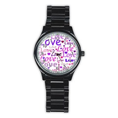 Love Pattern Stainless Steel Round Watch by Valentinaart