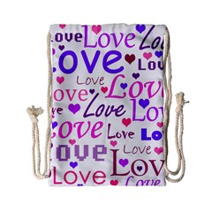 Love Pattern Drawstring Bag (small) by Valentinaart
