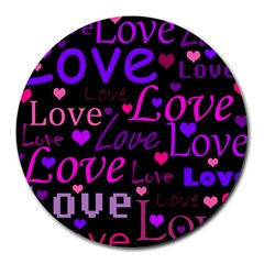 Love Pattern 2 Round Mousepads by Valentinaart