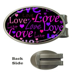 Love Pattern 2 Money Clips (oval)  by Valentinaart