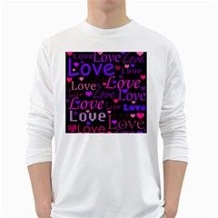 Love Pattern 2 White Long Sleeve T Shirts by Valentinaart