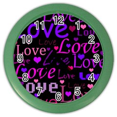 Love Pattern 2 Color Wall Clocks by Valentinaart