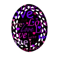 Love Pattern 2 Oval Filigree Ornament (2 Side)  by Valentinaart