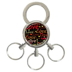 Love Pattern 3 3 Ring Key Chains by Valentinaart