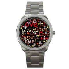Love Pattern 3 Sport Metal Watch by Valentinaart