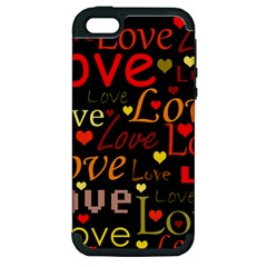 Love Pattern 3 Apple Iphone 5 Hardshell Case (pc+silicone)