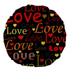 Love Pattern 3 Large 18  Premium Round Cushions by Valentinaart