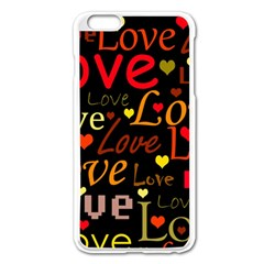 Love Pattern 3 Apple Iphone 6 Plus/6s Plus Enamel White Case by Valentinaart