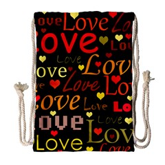 Love Pattern 3 Drawstring Bag (large) by Valentinaart