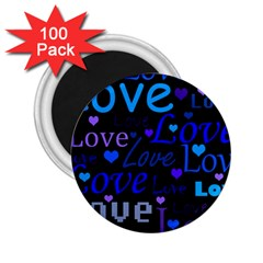 Blue Love Pattern 2 25  Magnets (100 Pack)  by Valentinaart